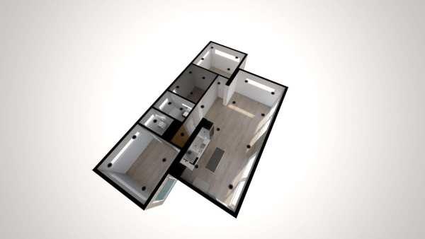 Built Prefab Modular Home Floorplan Rendering