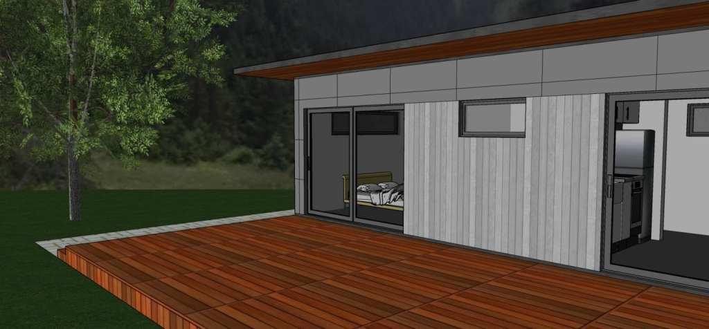 Built Prefab Garden Front View Modular Home Rendering