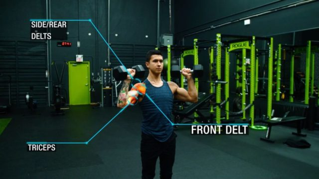Push workout standing dumbbell press