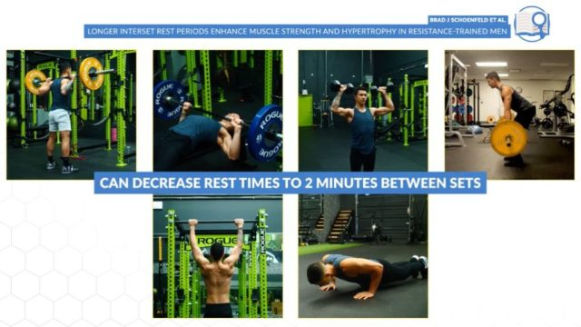 Rest periods for compound and bodyweight exercises should be roughly 2 minutes