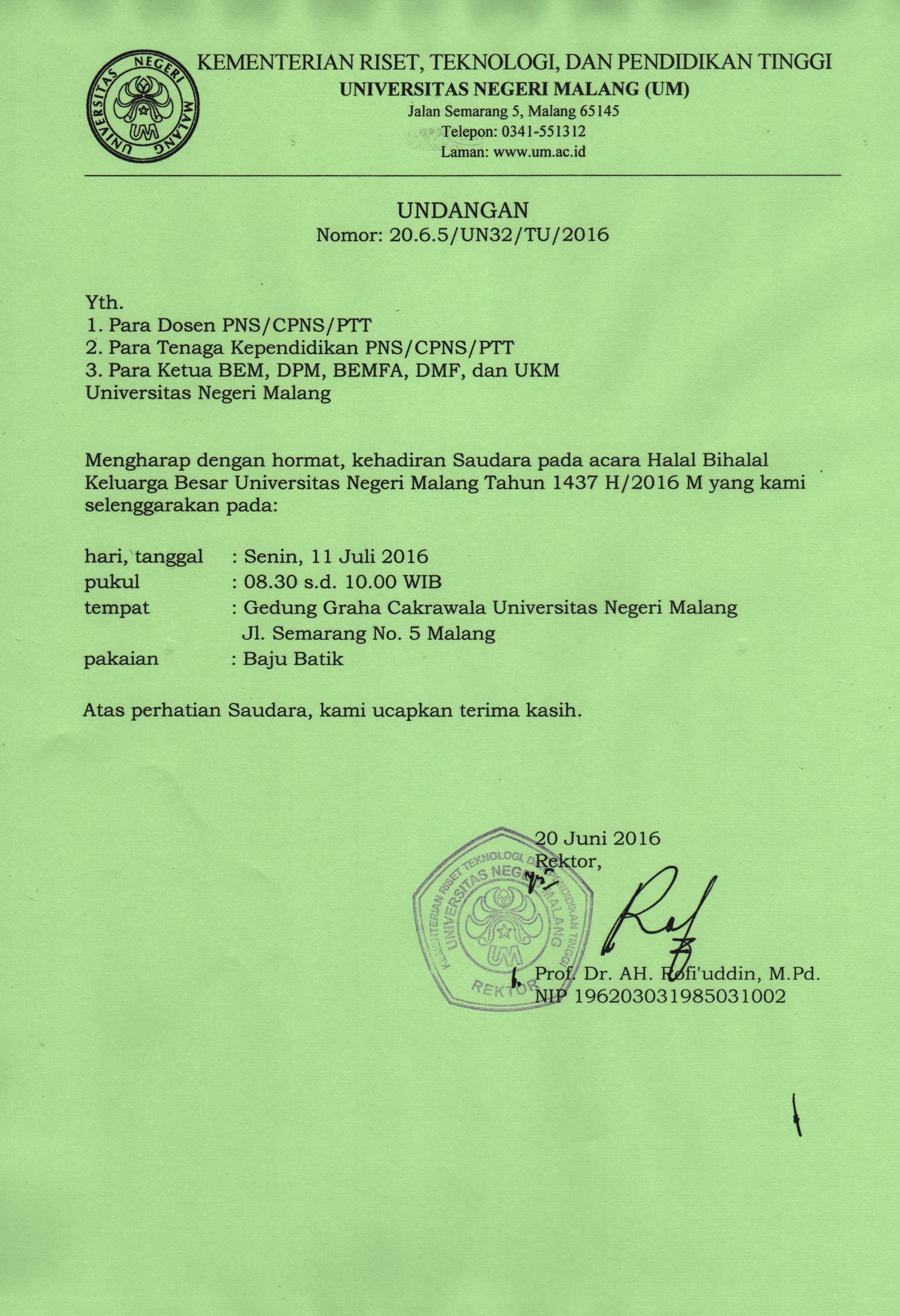 Undangan Halal Bi Halal Biro Umum Dan Keuangan Buk