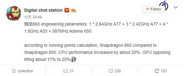 Alleged Snapdragon 865 specs