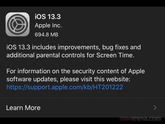 Apple releases iOS and iPadOS 13.3 with multiple bug fixes