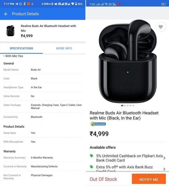Realme Buds Air price revealed by Flipkart ahead of December 17 launch