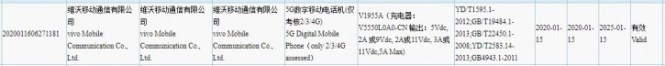 New vivo V1955A shows up on TENAA, along with a 55W charger