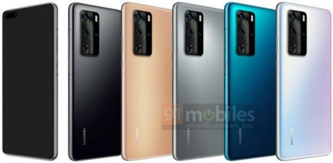 Huawei P40 Pro renders showing off the five launch colors