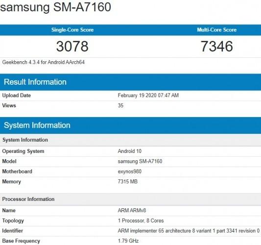 Samsung Galaxy A71 5G visits Geekbench with an Exynos 980 SoC