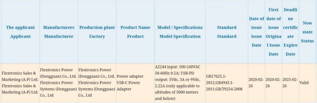 Apple 20W charger certification (3C)