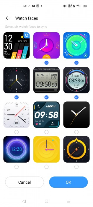 Realme Watch currently supports 12 watch faces