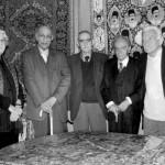 منوچهر ستوده، ادیب برومند، ایرج افشار، محمدابراهیم باستانی پاریزی و داریوش شایگان (تالار فرش آقای فارسی جانی، 1386)