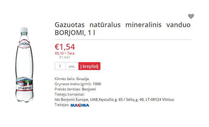 Borjomi 1 ltr 1,54 eur