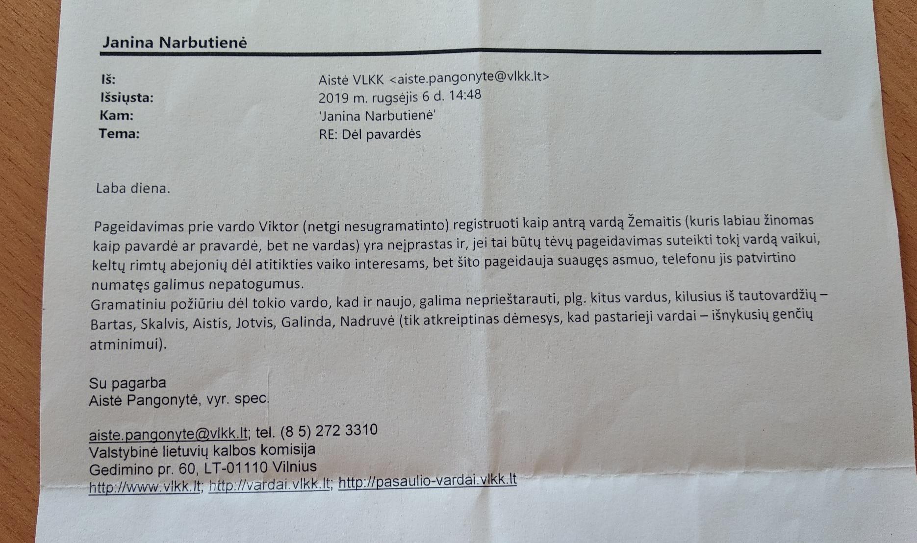Lietuvių kalbos komisija dėl vardo Žemaitis pase.jpg