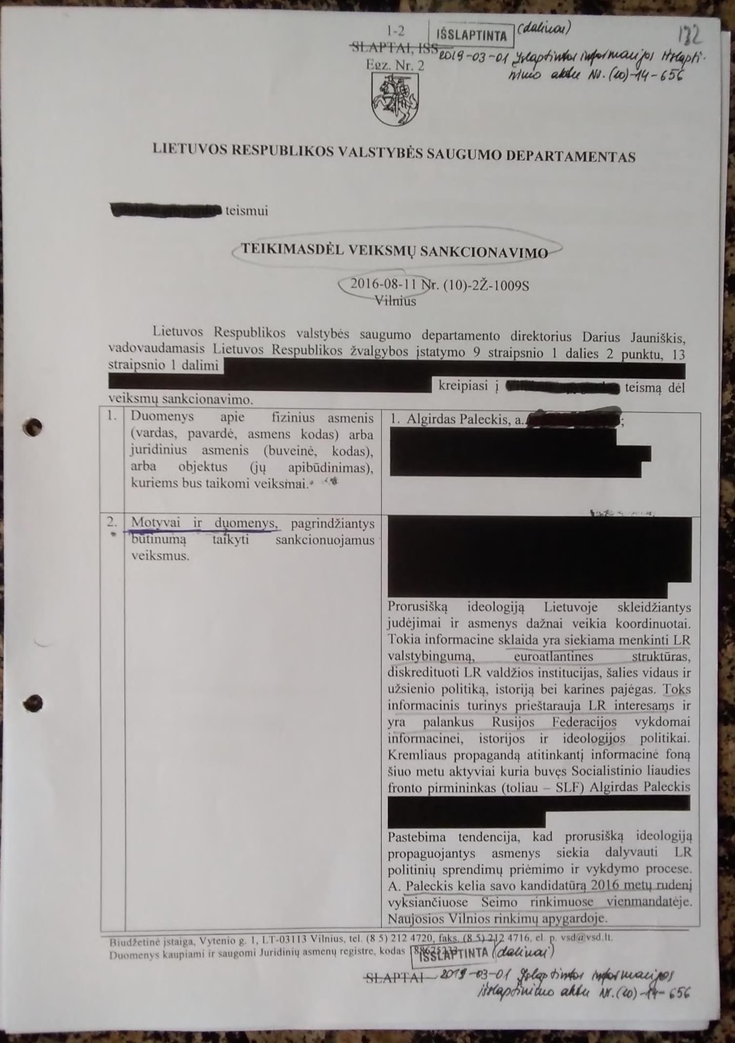 """Algirdas Paleckis: pradedu viešinti """"šnipinėjimo"""" bylos medžiagą (dokumentai)"""