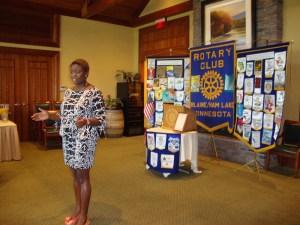Bukola Oriola presenting at the Blaine Rotary