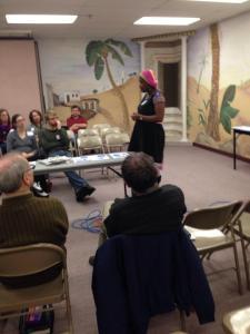 Bukola Oriola presenting at Calvary Church, Roseville, Minnesota, Credit: Stephanie Page