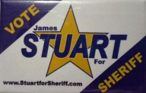 Sheriff James Stuart's voting pin badge