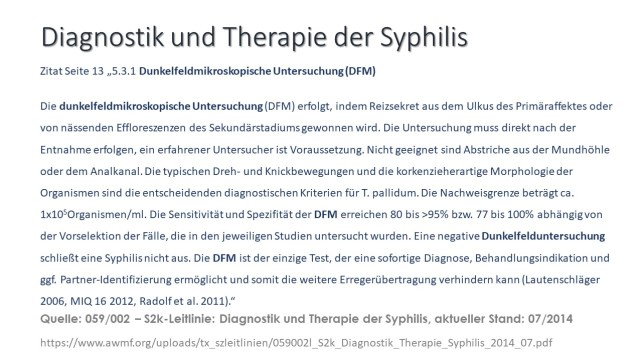 Diagnostik Syphilis mit DFM