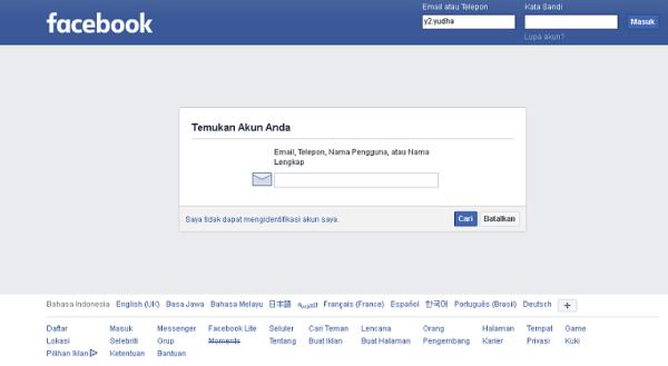 laman awal pencarian akun facebook yang lupa kata sandi