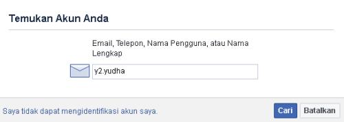 temukan akun facebook yang lupa kata sandi disini
