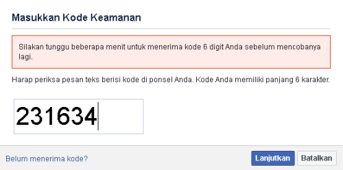 klik lanjutkan setelah memasukkan kode keamanan ( security code )
