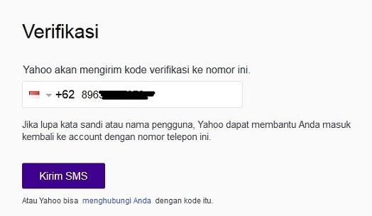 verifikasi nomor hp saat mendaftar akun yahoo