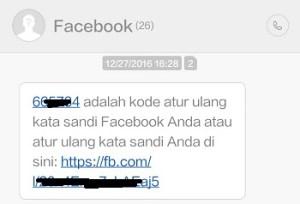 sms dari fb yang berisi kode keamanan atau kode verifikasi untuk reset sandi fb