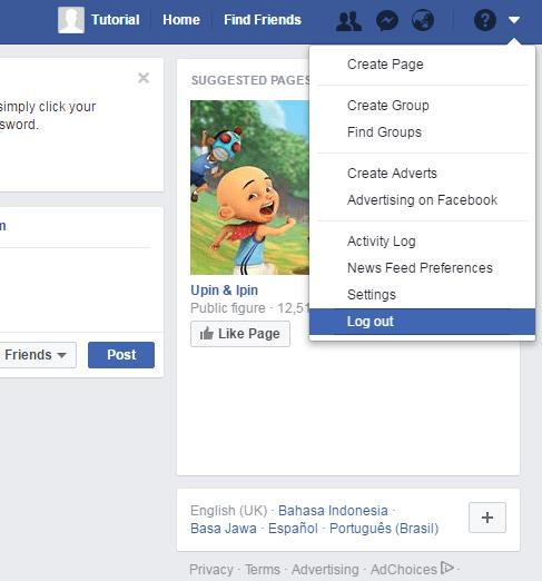 cara log out dari akun facebook baru kamu