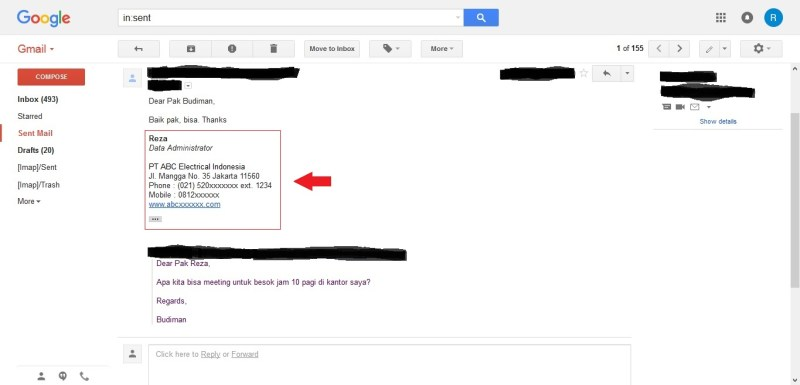 Dengan centang tanda tangan digital atau signature di reply atau balasan email Gmail