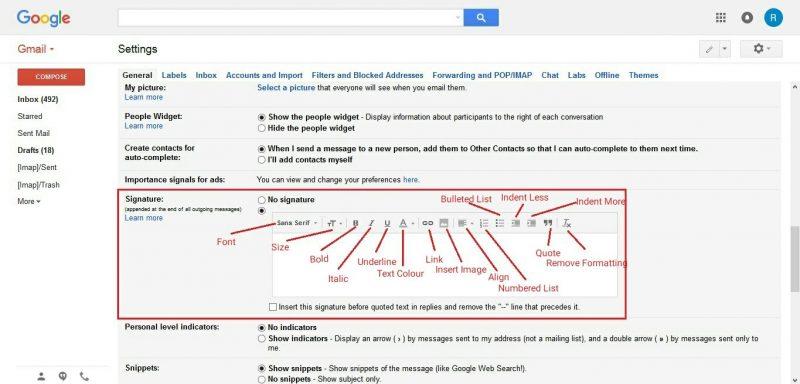 Kolom Signature atau tanda tangan digital di email Gmail