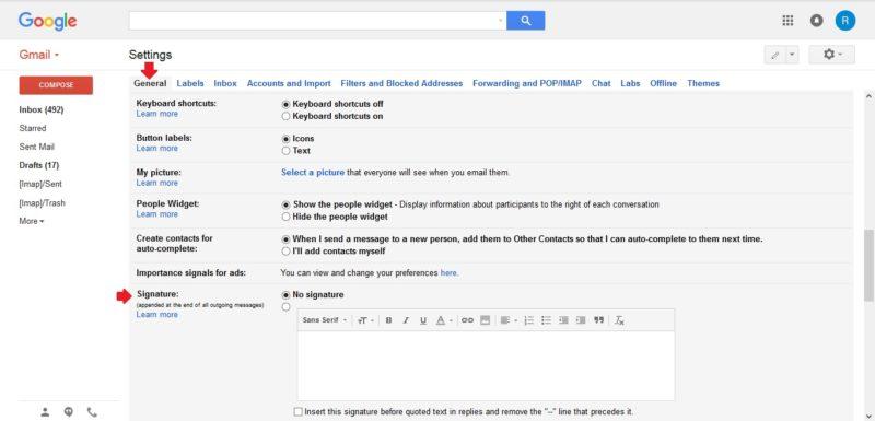 Pilih tab Pilih General lalu klik Signature untuk buat tanda tangan digital di google email