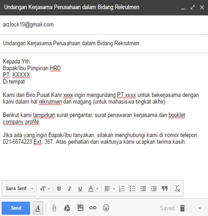 Contoh application letter magang