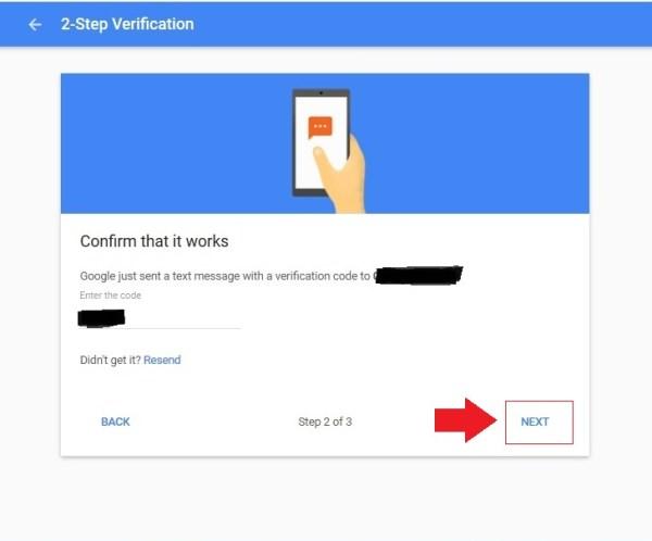 Masukkan kode untuk membuat verifikasi 2 langkah ke akun Google