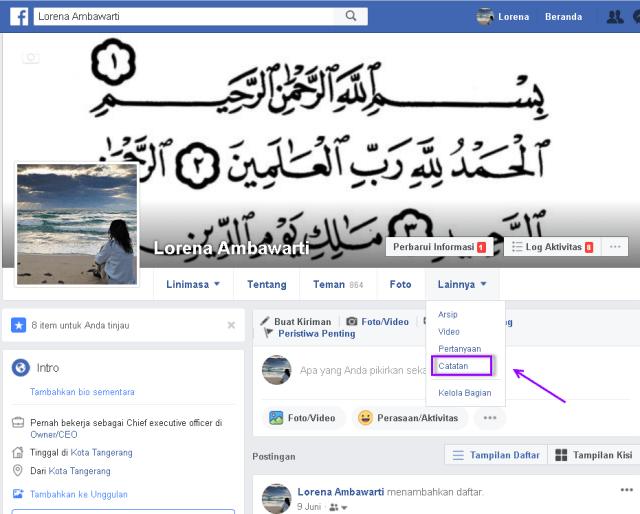 cara membuat catatan di facebook