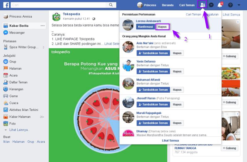 menolak permintaan pertemanan facebook