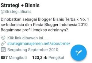Tampilan akun Twitter @Strategi_Bisnis