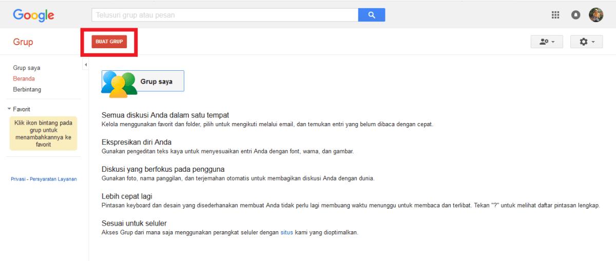 Tampilan halaman awal Google Groups