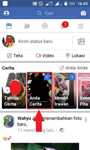 Tampilan saat berhasil mengunggah Stories di Facebook Lite