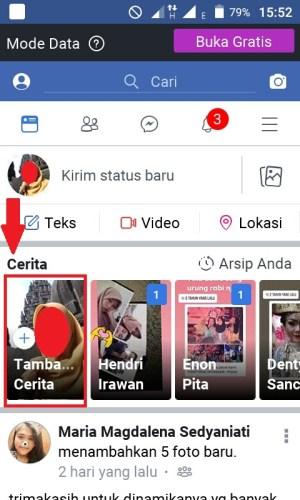Tampilan halaman beranda Facebook Lite