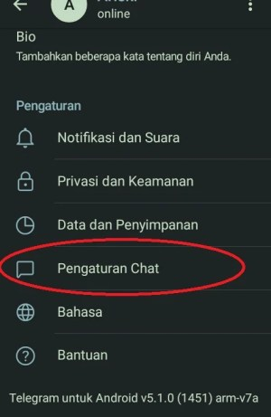 Tampilan menu yang terdapat di Telegram