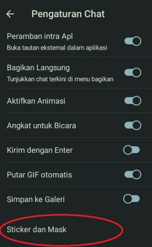 Tampilan Pengaturan chat di Telegram