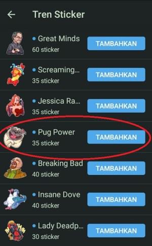 Berbagai pilihan tren sticker di Telegram
