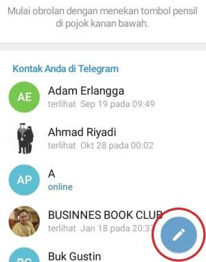 Tampilan halaman awal Telegram