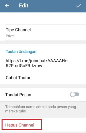 """pilih """"Hapus channel"""" untuk mengahapus channel pada Telegram"""