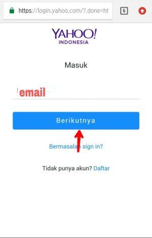 Gambar 1. Ketik email Yahoo yang ingin kamu hapus, setelah itu ketuk masuk