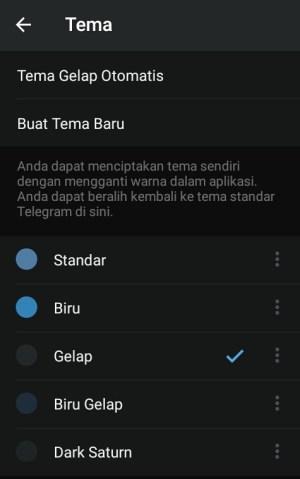 Tampilan tema default dari Telegram