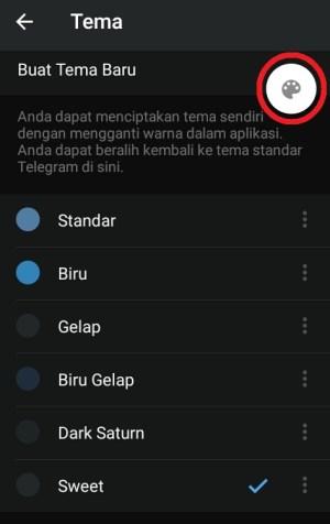 Tampilan ikon untuk mengedit tema di Telegram