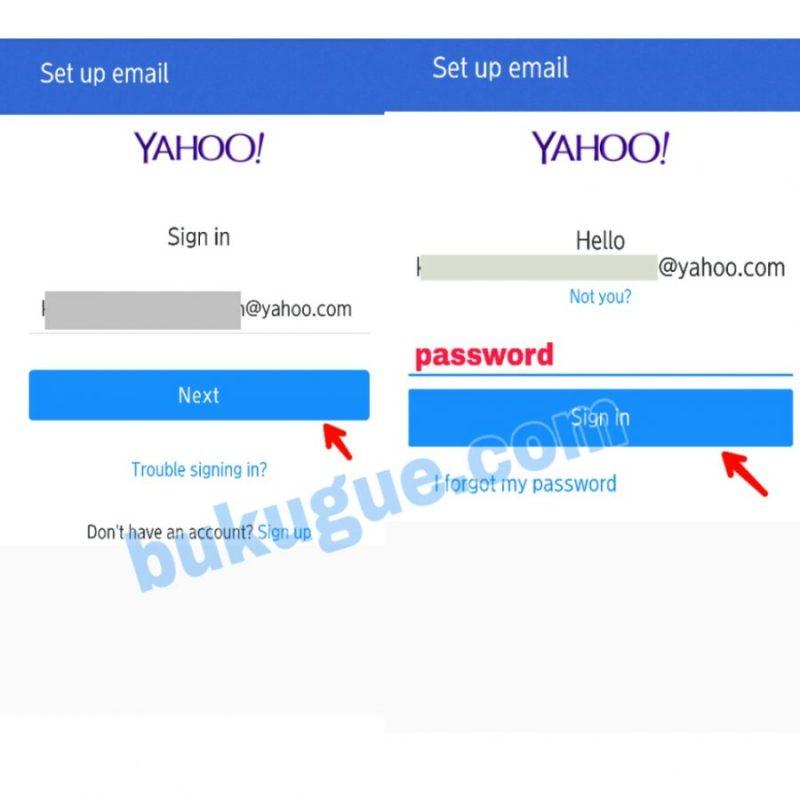 Gamnbar 2.4 Ketik alamat Email Yahoo, kemudian Password/sandi dan ketuk Sign in