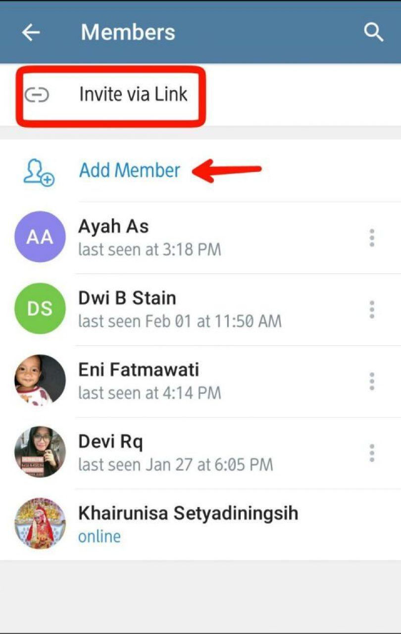 Add Member/tambah anggota group, atau invite via link