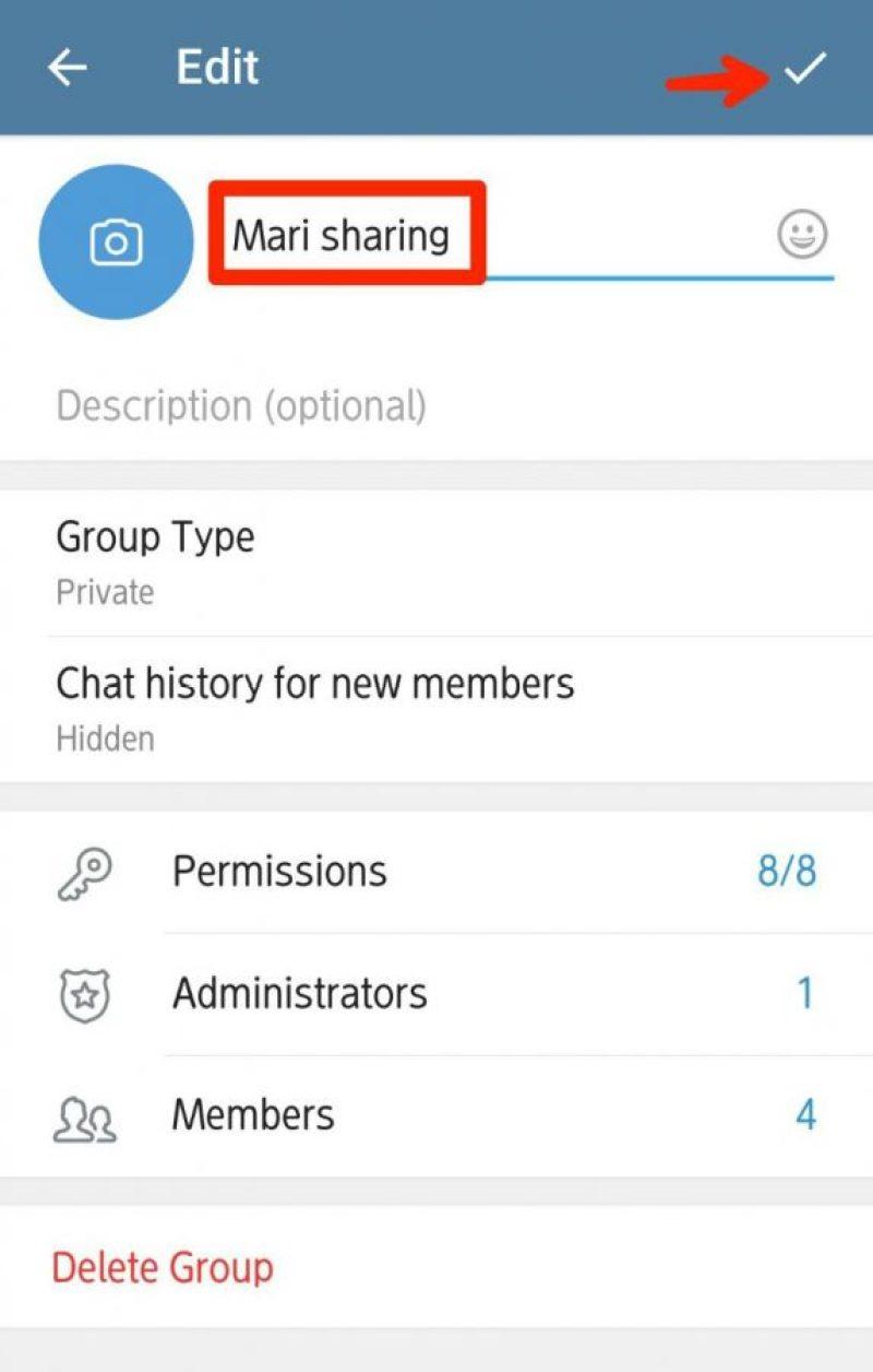Jika ingin ubah nama group, hapus yang lama