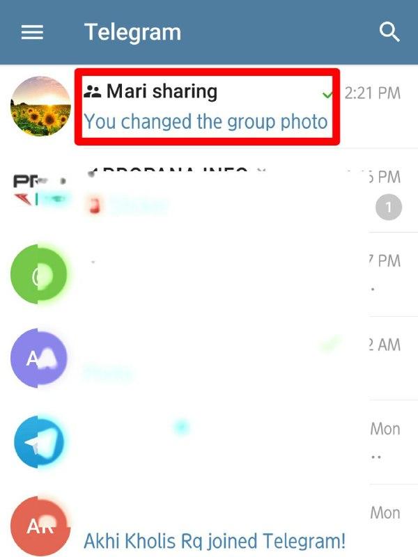 Tap group kamu diberanda chat